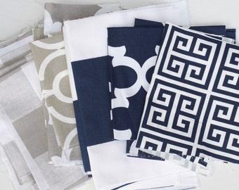 Fabric Scraps Bundle, Navy Blue Ecru Taupe White, Anderson, Backdrop Lyon, Cabana, Fynn, Towers, Home Decor Premier Prints REMNANT CUTS