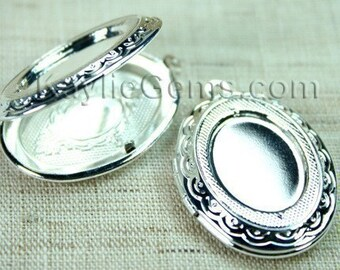 Silver Lockets Oval Cameo Cabochon Frame Setting Victorian Style   -  LKOS-95SP - 4pcs