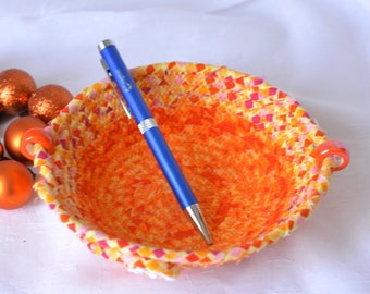 Spring Orange Decoration, Handmade Candy Dish, Artisan Decorative Basket, Hand Coiled Fabric Basket, Halloween Desk Accessory Bowl