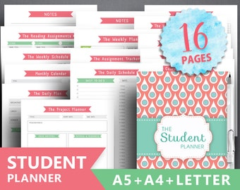 """College planner printable: """"STUDENT PLANNER"""" Letter, A4, A5, Academic Planner, Student Assignment, Student Project, Weekly Schedule, Project"""