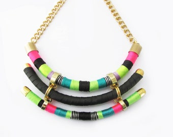 Statement tribal necklace,African necklace,Tribal jewelry,Neon necklace,Collier,Chunky necklace,Neon jewelry,Wrapped necklace