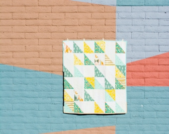 Mint / White / Yellow Half Rectangle Triangle Lap Quilt - Wall Hanging - Baby Quilt - Throw Quilt