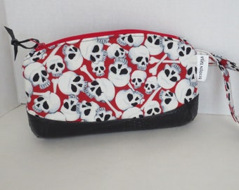 Skull Wristlet with Vegan Leather