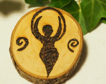 English Hawthorn Wood Goddess Altar Piece/Amulet - Pagan, Wicca, Witchcraft, Beltane