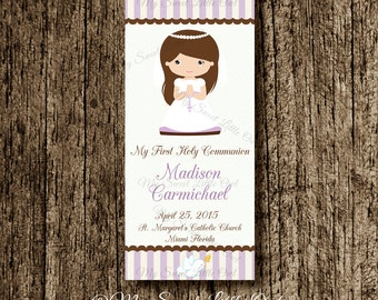 First Communion Bookmark favor - Holy Communion party favor - First Communion label girl lila - lavender first communion