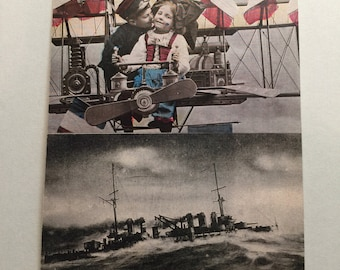Antique French Valentine and WWI Ship images original postcard