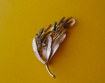 Vintage Pin Leaf Pod Spray with Glass and Rhinestones