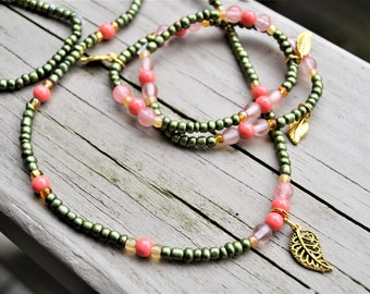 AVOCADO SEEDBEADS Necklace Bracelet Set with Gold Leaf Charms Long Necklace Wrap Bracelet