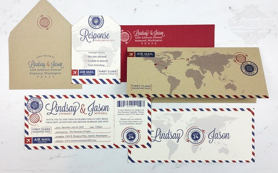 Airmail Wedding Invitations: Vintage Airmail Wedding Invitation Sample Boarding Pass