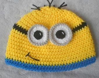 Minion Crochet Hat Double Trim (No Ear-flaps)