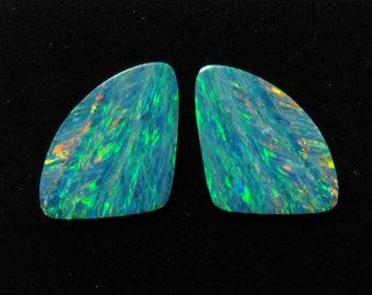 """Australian Opal Doublet Pair """"Butterfly Wings"""" for Custom Pin, Pendant or Earrings"""