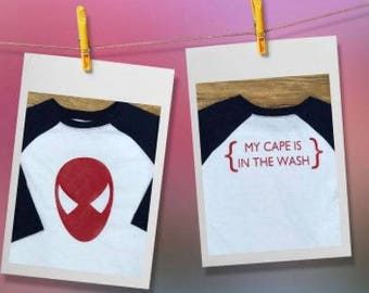 My Cape is in the Wash - Choose Your Favorite Super Hero - Vinyl T Shirt or Bodysuit