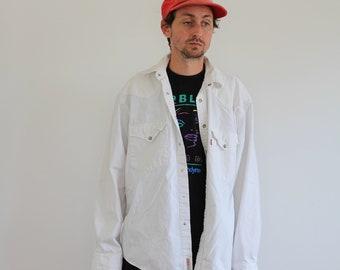 Levis White Oversized Pearl Snap Shirt Mens Medium