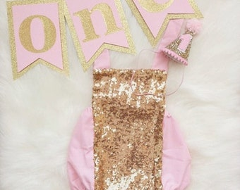 Baby pink and gold sequin romper sunsuit for birthdays