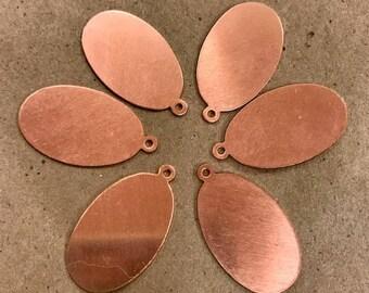 """SIX  1 1/8"""" Copper OVAL w/Ring***24 GAUGE***"""