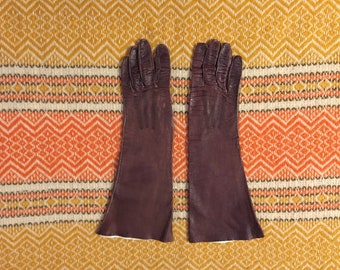 Brown Leather Gloves Vintage Women's XS or Small size 6 1/2