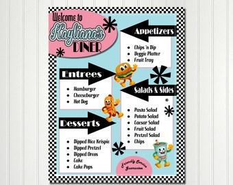 Sock Hop Menu Food Tags Label Fifties