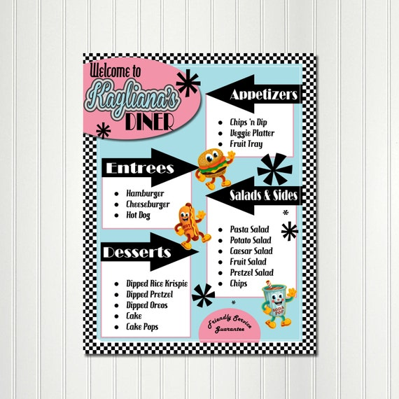 Sock Hop Menu Food Tags Label Fifties 1950s 50s Birthday Anniversary Retro Diner