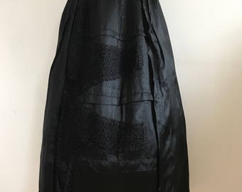 Vintage 1800s Victorian Bustle Skirt Black Silk Fishtail French Lace Gothic Lady
