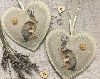 Lavender Sachet / Woodland Heart Hanging / Hare Gifts / Lavender Heart / Padded Heart / Heart Decoration / Hares