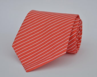 Coral and White Pinstripe Men's Necktie