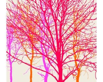 Neon Trees, Original Art Print, Landscape, Nature, Pink, Orange