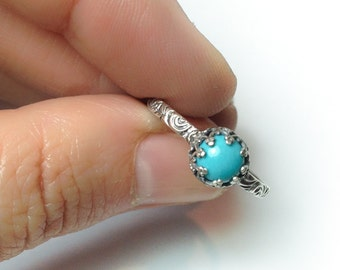 Turquoise Ring, December Birthstone Jewelry, Custom created in your size, December Birthstone Ring, Antique Style Turquoise Ring, Birthstone