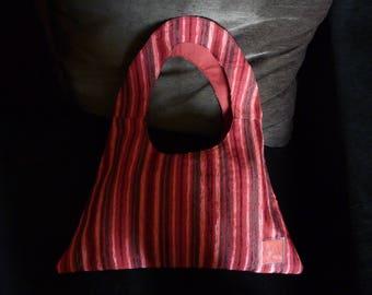 Triangular red lined shoulder bag