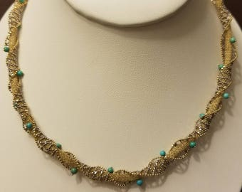 Gorgeous 14kt Two Tone Sleeping Beauty Turquoise Necklace. 18 Inches.