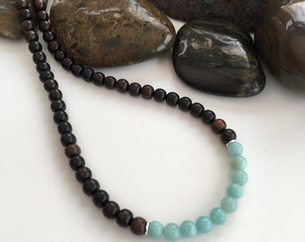 Tiger ebony and Amazonite necklace, short necklace, wooden necklace, Tiger Ebony necklace, unisex, gift for her, sister gift, turquoise
