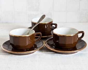 Set of 3 Authentic French NESCAFE Bistrot Cups and Saucers || Brown and Gold Porcelain - Mid Century