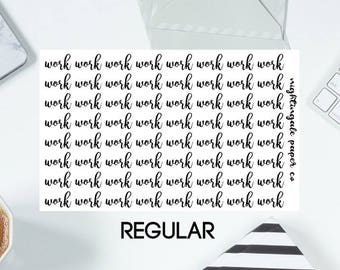 Work Calligraphy Planner Stickers - Regular or Large Size