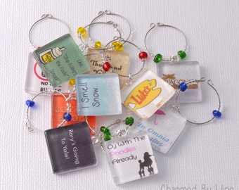 Gilmore Girls Wine Charms: Luke's Diner, Dragonfly Inn, Stars Hollow, Rory and Lorelai - Gilmore Girls Gift, Coffee Charms (choice of 2-10)