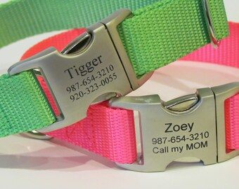 Personalized Pet Collar With Laser Engraved Metal Buckle - Available In 16 Colors including Hot Pink And Hot Lime Green - Made In USA