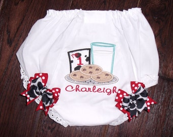 Cookies with Milk Glass Birthday Bloomers, Personalized Milk Cookie Bloomer, Embroidered Cookie Bloomer, Monogrammed Milk and Cookies