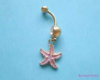 Sea star button ring , Gold Navel ring, Belly button Jewelry, Belly button piercing, Belly navel ring piercing, Belly button ring