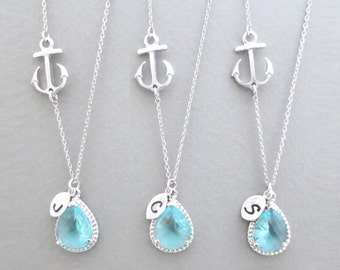 Set of 5-10, Personalized, Letter, Initial, Sideways, Anchor, Aquamarine, Sky blue, Glass, Silver, Necklace, Sets, Wedding, Gift, Jewelry