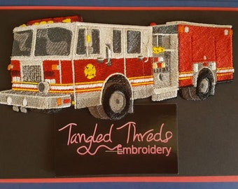 "Fire Truck, Fire Engine, Firefighter Embroidered Patch 6.8"" x 3.0"""