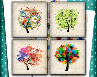 Colorful Trees 1x1 inch, 1.5x1.5 inch Square Digital Images for Jewelry Making, Scrapbooking Printable Digital Collage Sheet