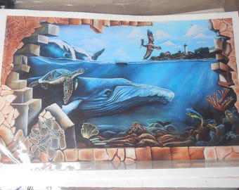 Colorful Tropical Mural Print - Rincon Puerto Rico -  light house, whales, waterfall, coral reef, office art