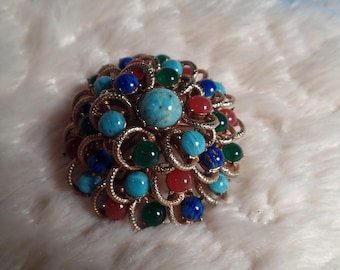 Impressive Brooch with Faux Semi-Precious Glass Cabochons-1960's