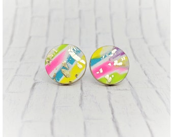 multi color earrings graffiti earrings clay jewelry student gift for her nickel free earrings lightweight earrings graffiti jewelry neon
