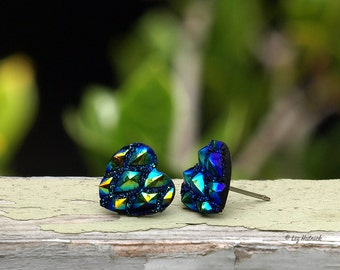 Dragon Scales Heart Earrings, 12mm Blue, Teal and Gold Chunky Heart Studs, Titanium or Stainless Steel Posts