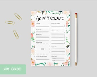 Goal Planner Floral Print A4 Interactive and Printable Files Included INSTANT DOWNLOAD