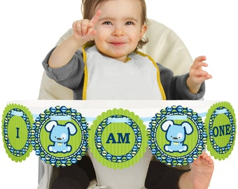 Blue Boy Puppy - 1st Birthday - I Am One - First Birthday High Chair Banner - First Birthday Party Decorations