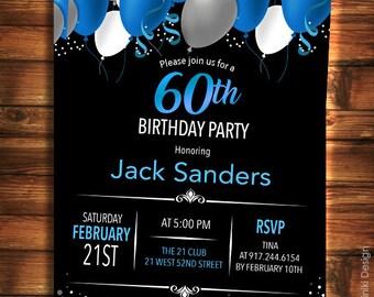 60th Birthday Invitation for Men, Black Blue Elegant Birthday Invitations, Surprise Birthday, Any Age Adult Invitations BA12