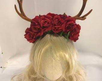 Deer antlers forest goddess horned faun headdress floral rose fawn woodland elf fantasy antler horn crown