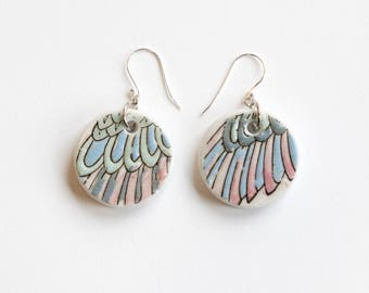 Porcelain Wing and Feather Earrings, Handcut Ceramic and Silver
