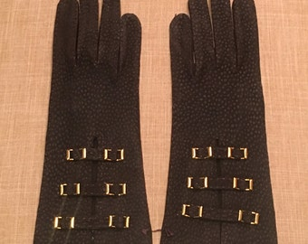 Vintage Italian Suede Brown Gloves, Buckle Detailing, Dark Brown Ladies Gloves, Never Used