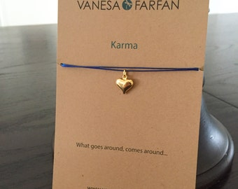 Friendship Necklace, Karma Heart Choker, Gold, for Kids, Girls and Women, Adjustable, in 16 Colors